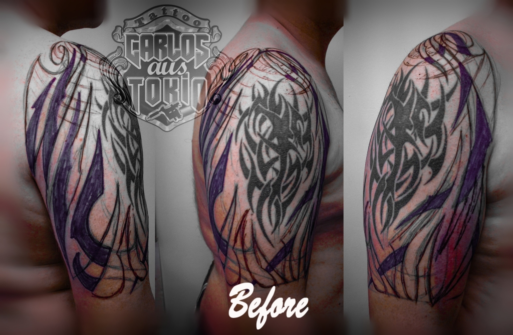 Adding new tattoo around old one before