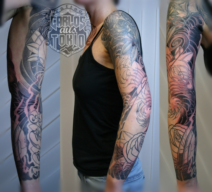 japanese tattoo rose sleeve