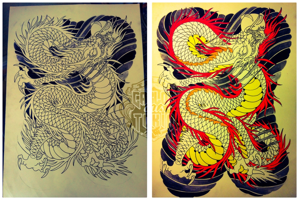 japanese dragon tattoo drawing2