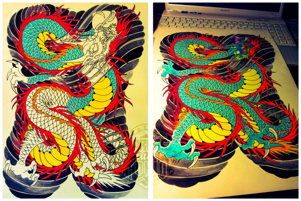 japanese dragon tattoo drawing3