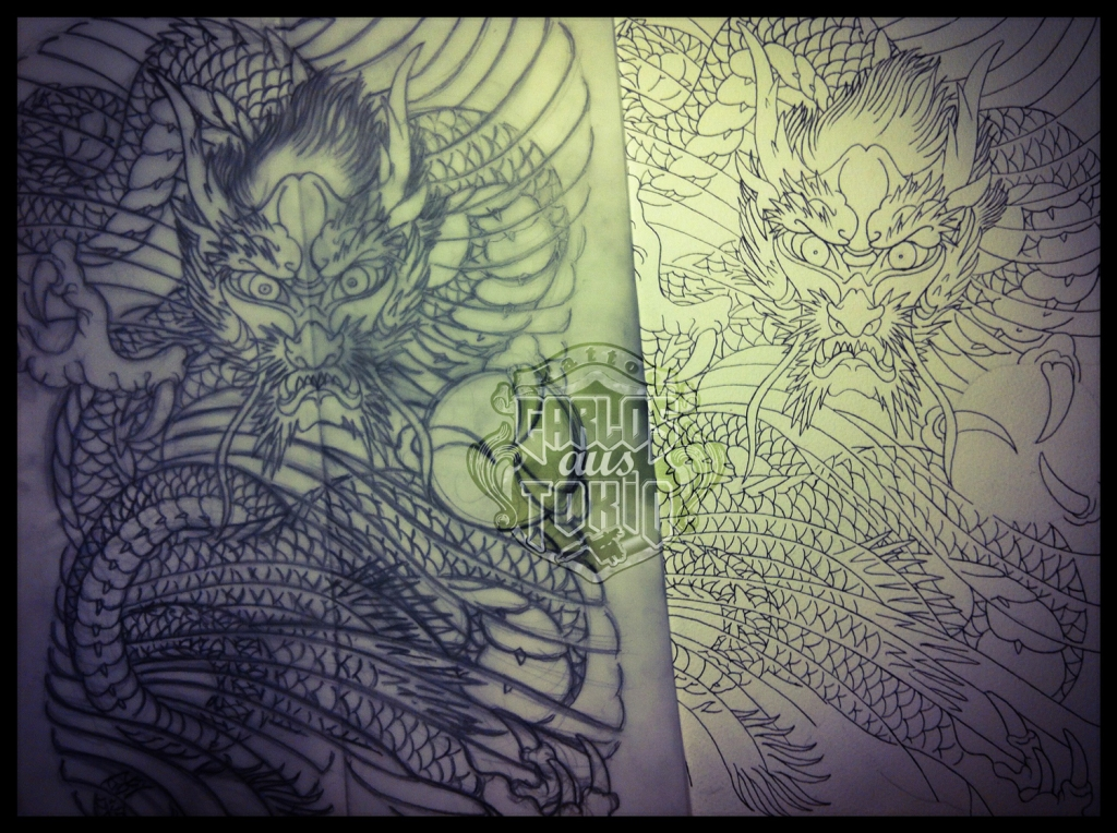 japanese dragon tattoo sketch1