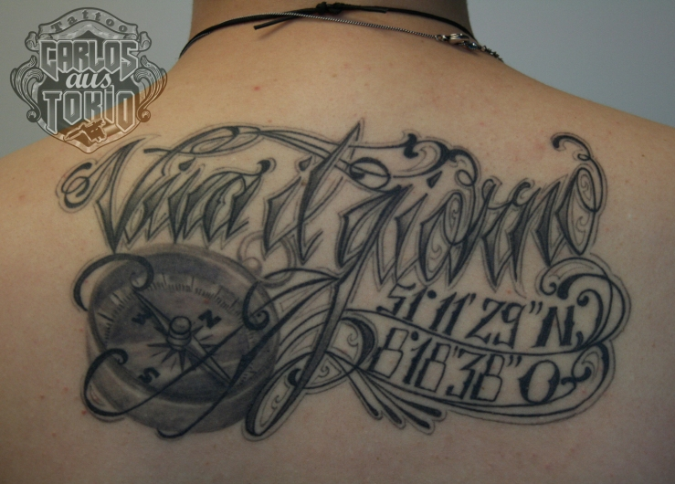 lettering tattoo healed