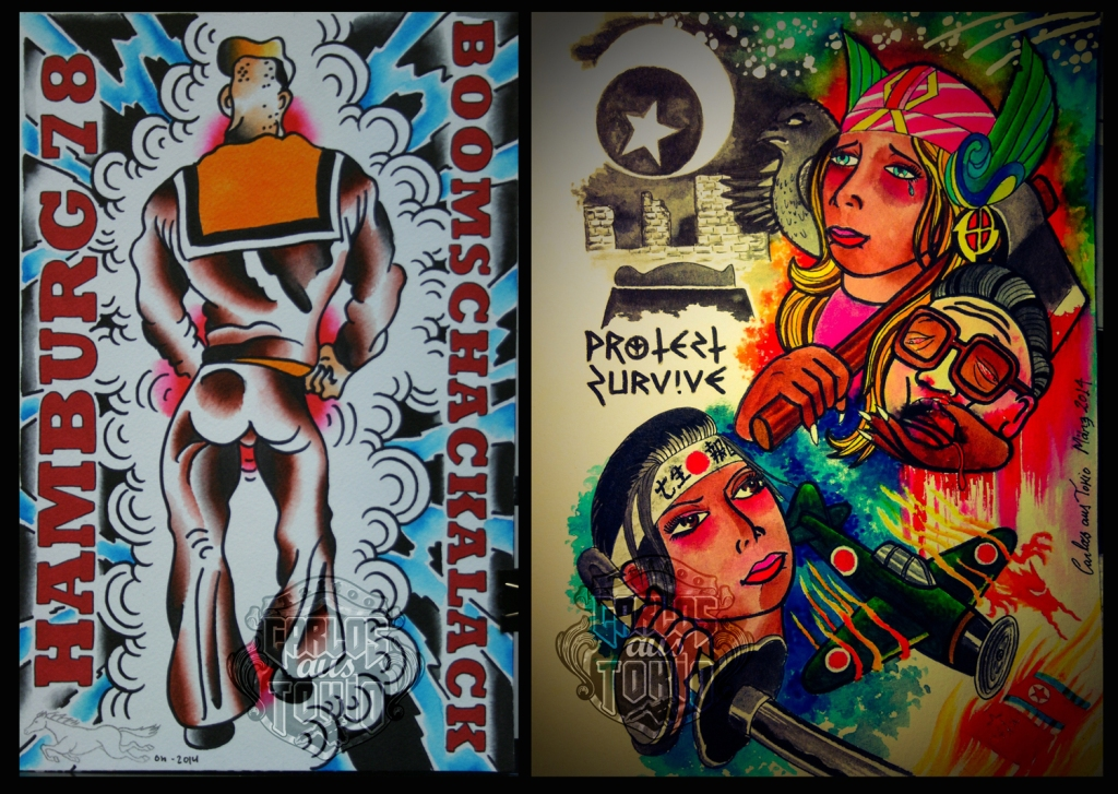 long horn extravaganza tattoo flash project