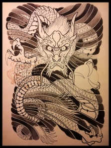 japanese dragon tattoo sketch2