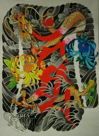Japanische drache bonji tattoo