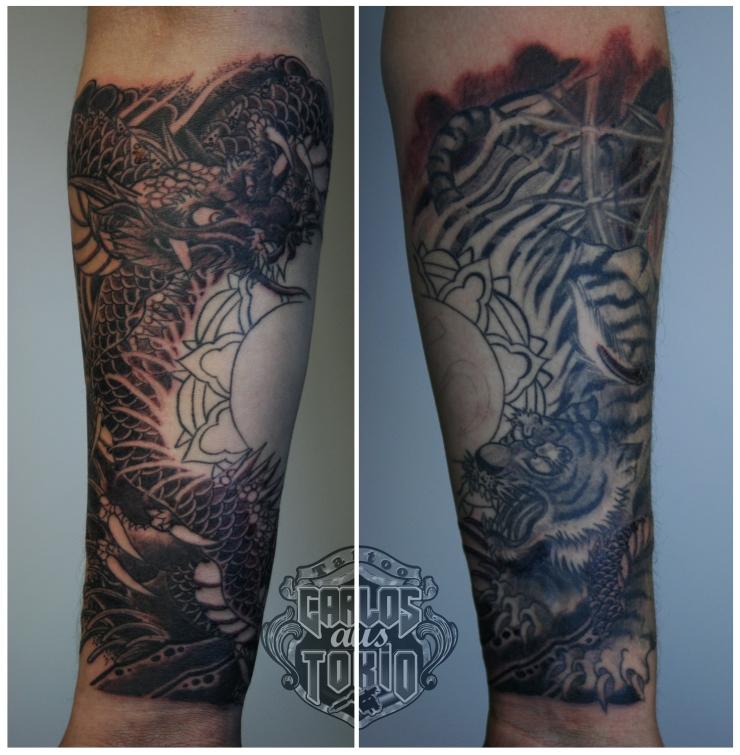 Tiger und Drache Japanische tattoo Deutschland
