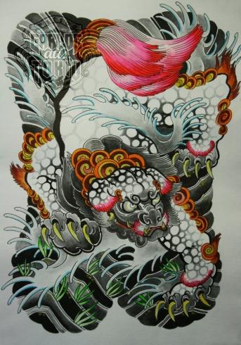 karajishi botan fu dog tattoo deutschland2