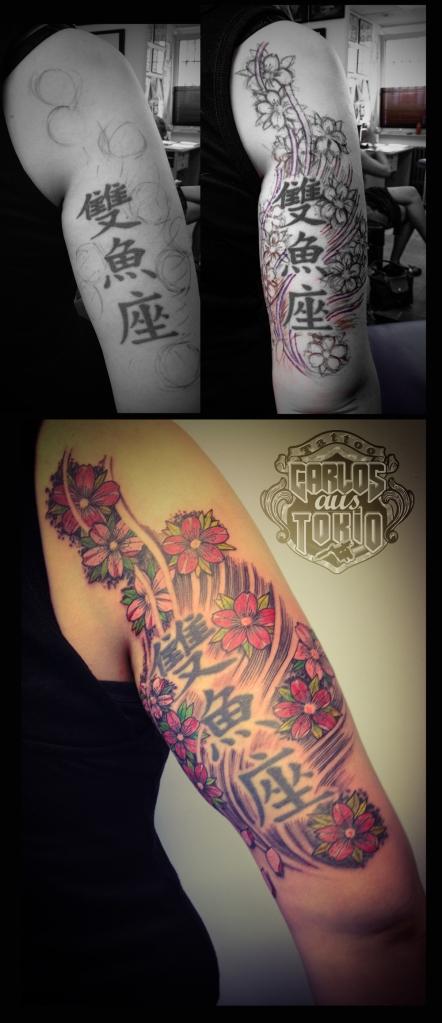adding new tattoo around old kanji