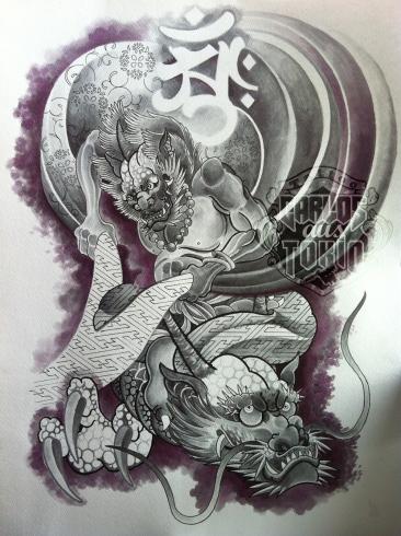 japanese fu-jin tattoo