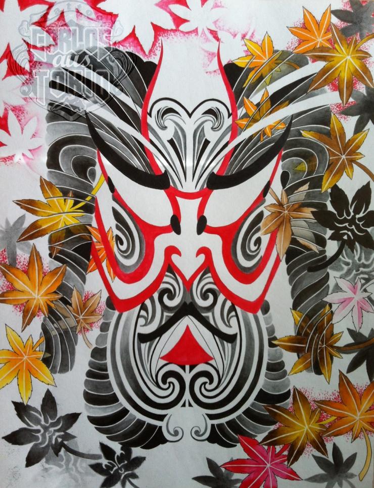 japanese kabuki mask tattoo pictures to pin on pinterest tattooskid. Black Bedroom Furniture Sets. Home Design Ideas