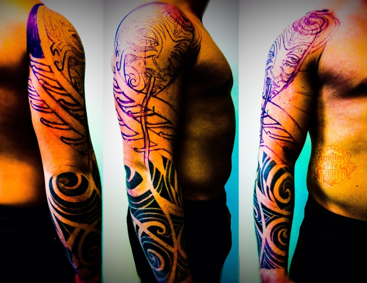 maori mask tribal hybrid tattoo carlos aus tokio2