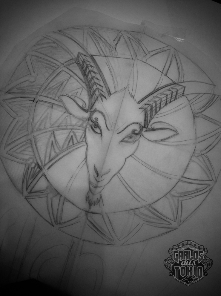 arm tribal goat tattooトライバルタトゥー2