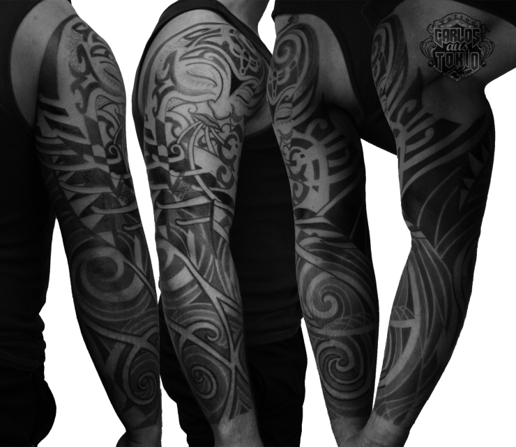 hybrid tribal sleeve tattoo1