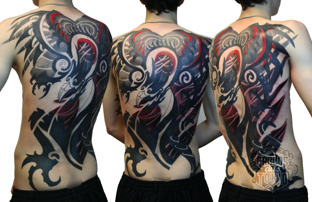 tribal dragon tattoo back piece