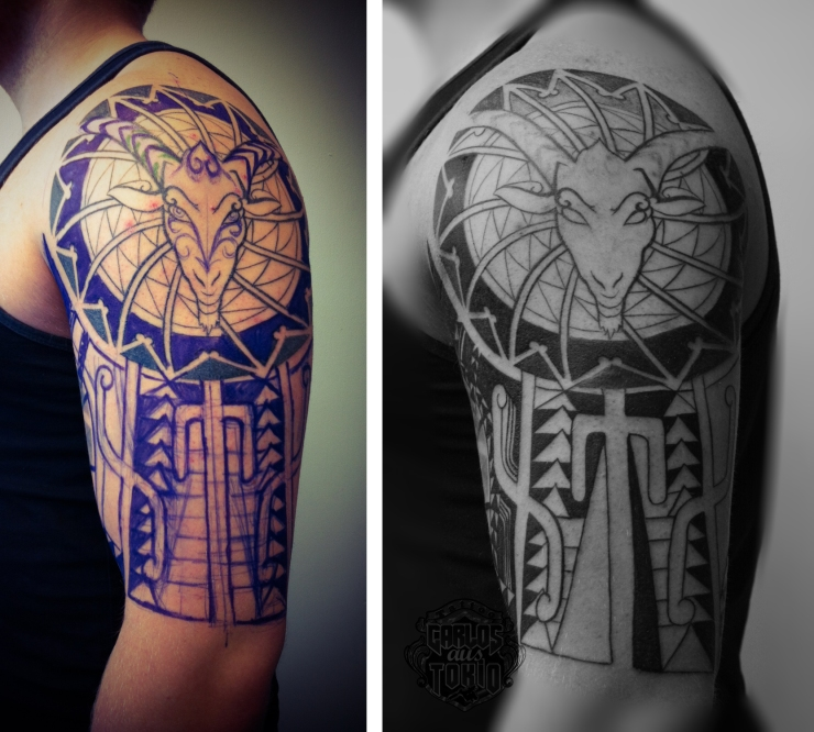 goat tribal tattoo arm4