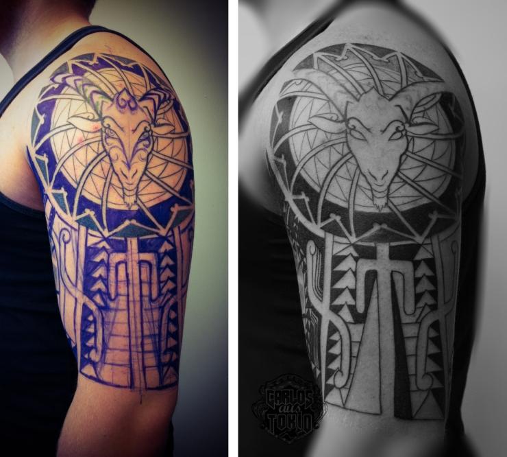 goat tribal tattoo arm4