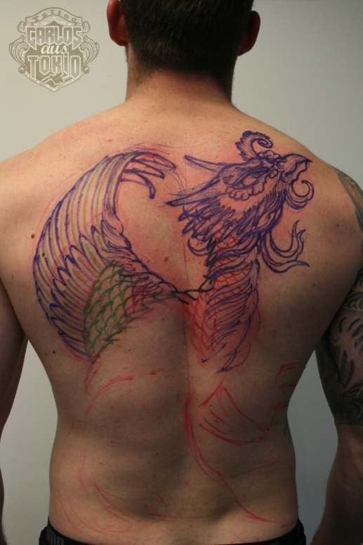 ho-o phoenix tattoo 鳳凰刺青背中1