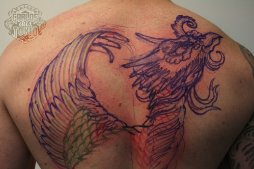 ho-o phoenix tattoo 鳳凰刺青背中5