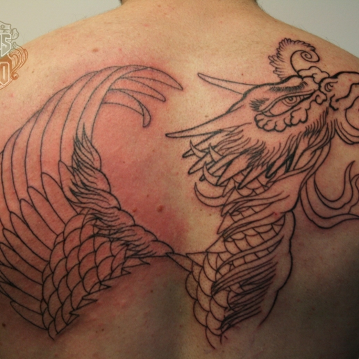 ho-o phoenix tattoo 鳳凰刺青背中6