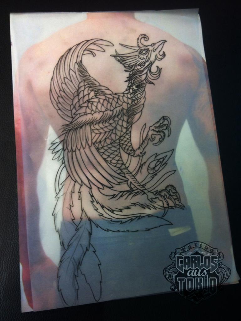 ho-o phoenix tattoo 鳳凰刺青背中7