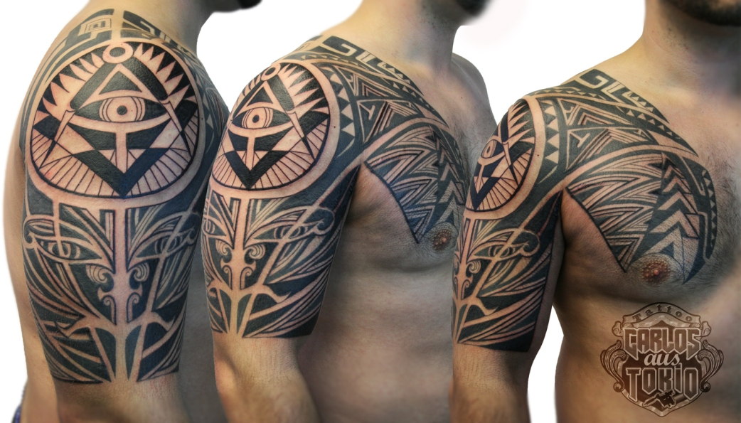 illuminati tribal tattoo arm