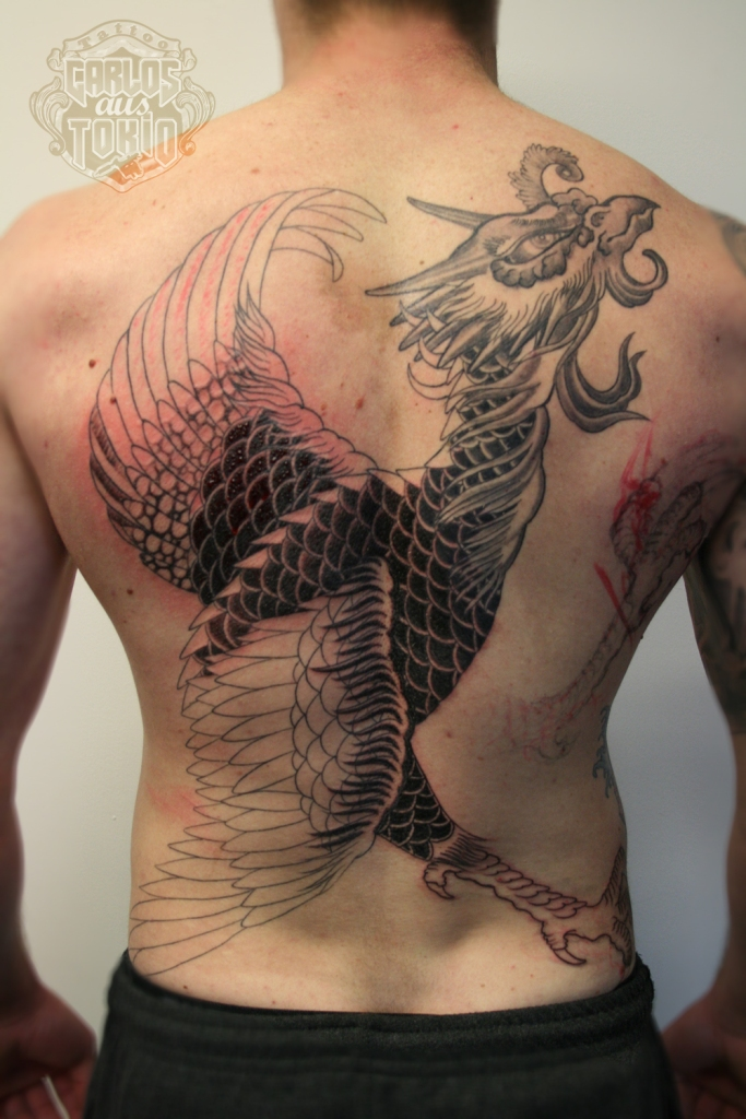 japanese phoenix back piece tattoo1