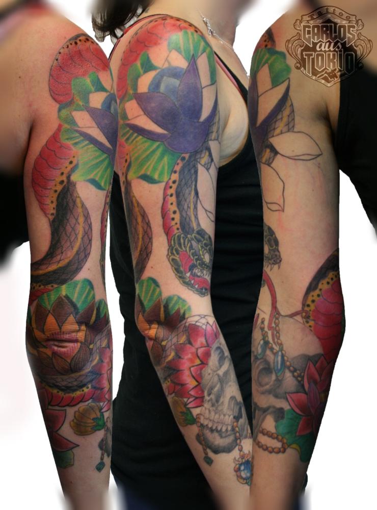 tattoo women snake skull