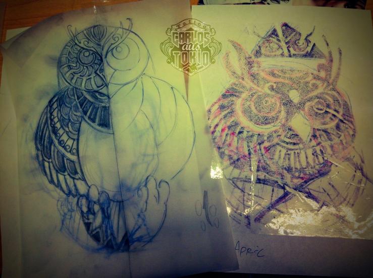 tribal owl tattoo3