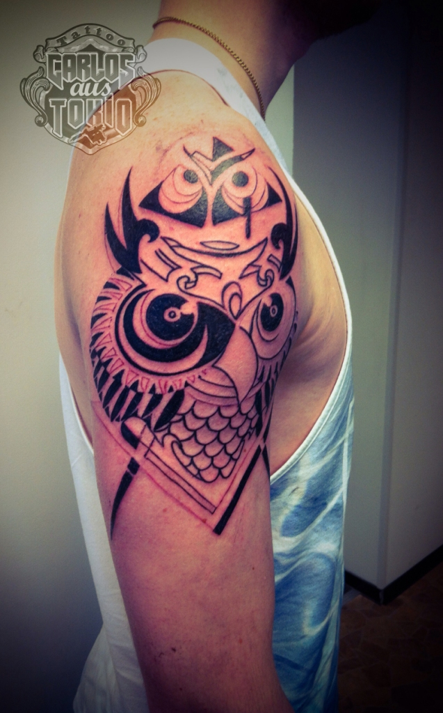 tribal owl tattoo4