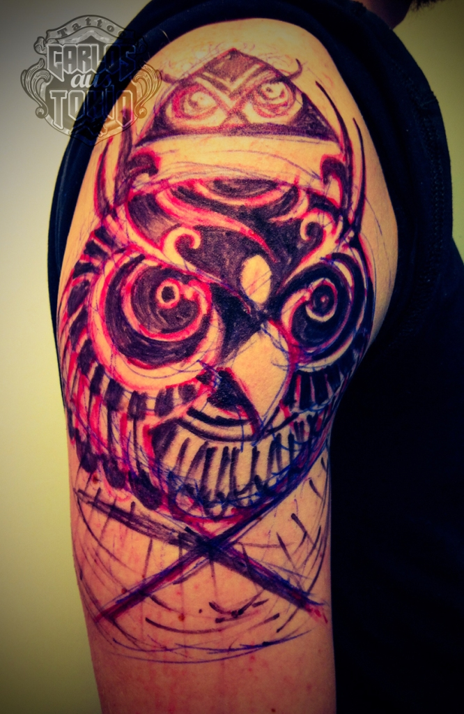 tribal owl tattoo5