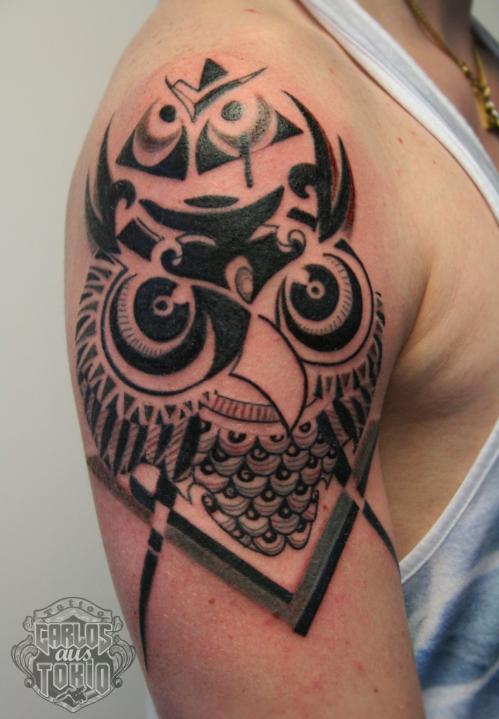 owl tribal tattoo