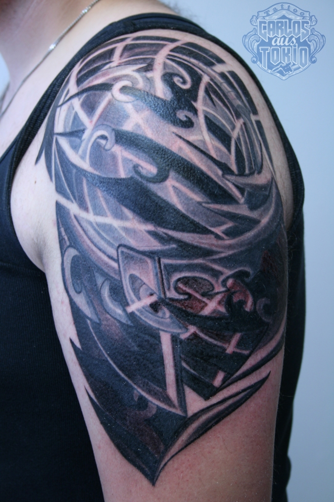 biomechanical tribal tattoo