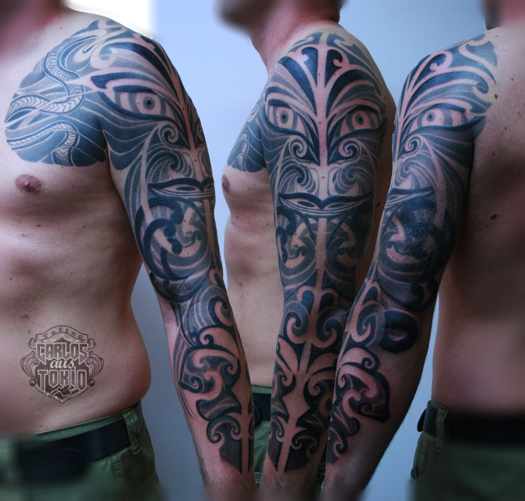 maori tribal hybrid tattoo