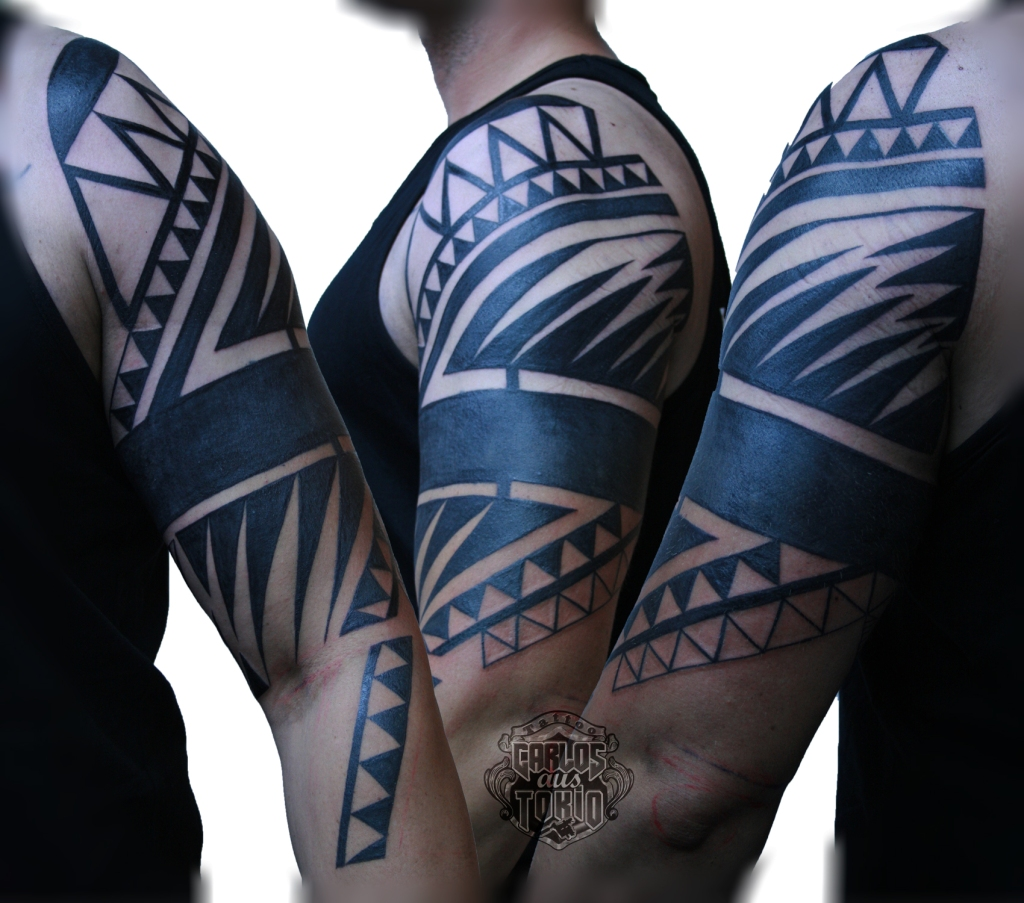 tribal black work tattoo deutschland1