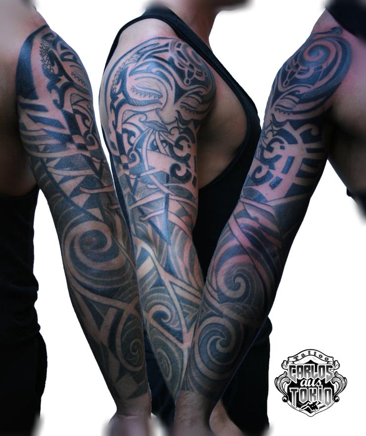 maori tribal hybrid tattoo1