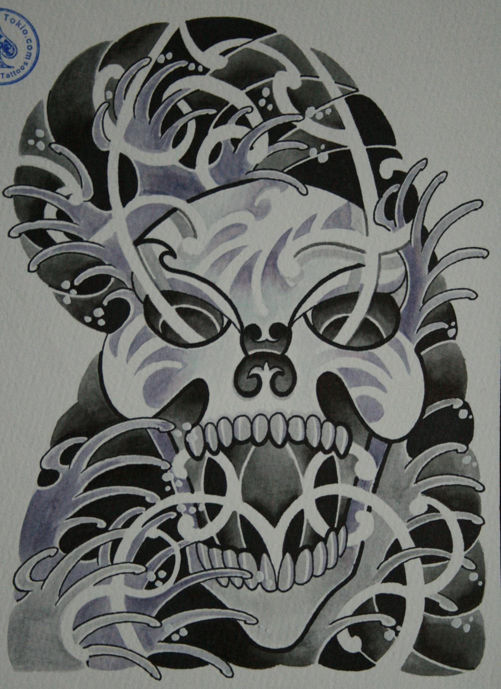 skull tattoo骸骨タトゥー6